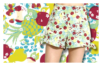 Lily Browのフルーツ柄セットアップのテキスタイルデザイン