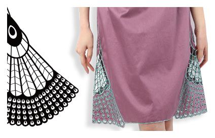 Chicパネルスカートのテキスタイルデザイン
